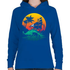PRINTFASHION Kalózhajó a napnyugtában - Női kapucnis pulóver - Királykék