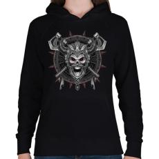 PRINTFASHION Harcos Viking - Női kapucnis pulóver - Fekete