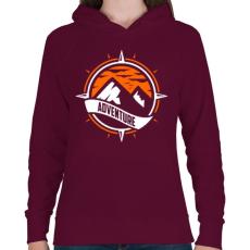 PRINTFASHION Kaland - Női kapucnis pulóver - Bordó