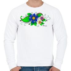 PRINTFASHION Indiai virág - Férfi pulóver - Fehér