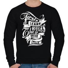 PRINTFASHION Szabályok - Férfi pulóver - Fekete