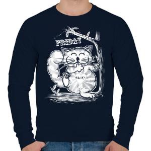 PRINTFASHION T.G.I.F. Cat - Férfi pulóver - Sötétkék