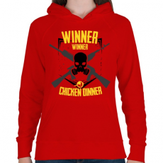 PRINTFASHION PUBG - WINNER WINNER CHICKEN DINNER - Női kapucnis pulóver - Piros