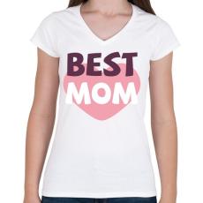 PRINTFASHION Legjobb Anya - Női V-nyakú póló - Fehér