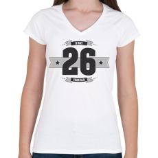 PRINTFASHION b-day-26-dark-lightgrey - Női V-nyakú póló - Fehér