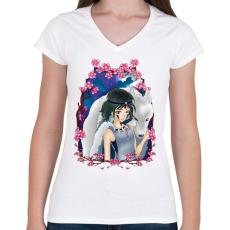 PRINTFASHION Mononoke Hime  - Női V-nyakú póló - Fehér