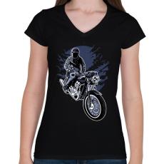 PRINTFASHION éjszakai motoros - Női V-nyakú póló - Fekete