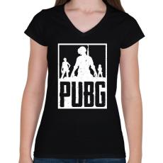 PRINTFASHION PUBG - Női V-nyakú póló - Fekete
