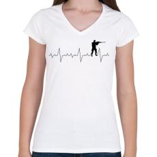 PRINTFASHION Szívverés PUBG CSGO - Női V-nyakú póló - Fehér