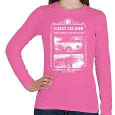 PRINTFASHION Klasszikus autók - Női hosszú ujjú póló - Rózsaszín