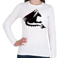 PRINTFASHION Sötét sárkány - Női hosszú ujjú póló - Fehér