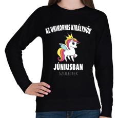 PRINTFASHION Unikornis királynők júniusban születtek (MAGYAR) - Női pulóver - Fekete