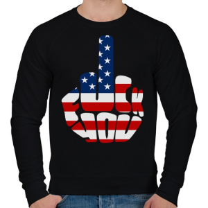 PRINTFASHION F*ck You! USA for life! - Férfi pulóver - Fekete