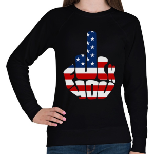 PRINTFASHION F*ck You! USA for life! - Női pulóver - Fekete