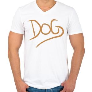 PRINTFASHION Dog Lover - Férfi V-nyakú póló - Fehér