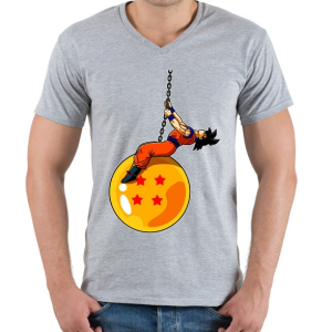 PRINTFASHION Dragonball - Wrecking Ball - Férfi V-nyakú póló - Sport szürke