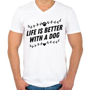PRINTFASHION Az élet kutyával jobb - Férfi V-nyakú póló - Fehér