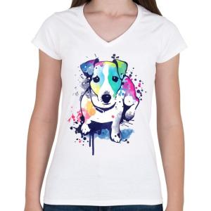 PRINTFASHION Színes kutya - Női V-nyakú póló - Fehér