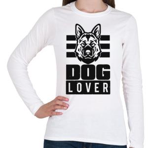PRINTFASHION Dog Lover - Női hosszú ujjú póló - Fehér