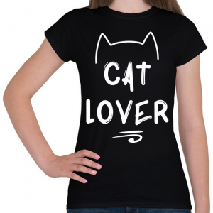 PRINTFASHION Cat Lover - Női póló - Fekete