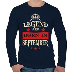 PRINTFASHION A legendák szeptemberben születnek - Férfi hosszú ujjú póló - Sötétkék