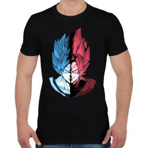 PRINTFASHION Super Saiyan Blue VS Super Saiyan Rose - Férfi póló - Fekete