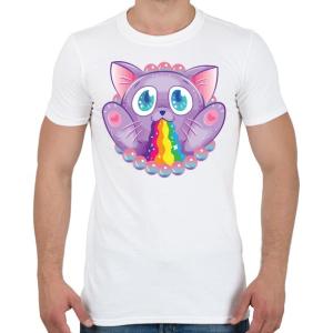 PRINTFASHION Szivárvány macska - Férfi póló - Fehér