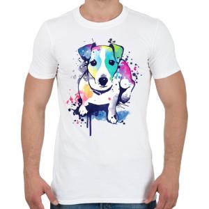 PRINTFASHION Színes kutya - Férfi póló - Fehér