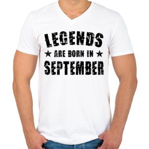 PRINTFASHION A legendák szeptemberben születtek - Férfi V-nyakú póló - Fehér