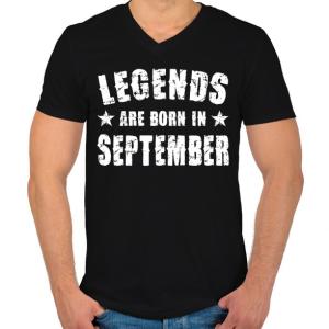 PRINTFASHION A legendák szeptemberben születtek - Férfi V-nyakú póló - Fekete
