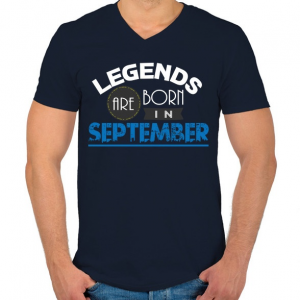 PRINTFASHION A legendák szeptemberben születnek - Férfi V-nyakú póló - Sötétkék