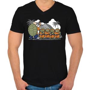 PRINTFASHION Dragonball teknősök - Férfi V-nyakú póló - Fekete