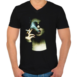 PRINTFASHION Marla - Férfi V-nyakú póló - Fekete