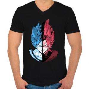 PRINTFASHION Super Saiyan Blue VS Super Saiyan Rose - Férfi V-nyakú póló - Fekete