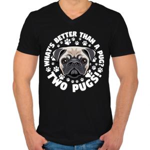 PRINTFASHION Két kutya jobb mint egy - Férfi V-nyakú póló - Fekete