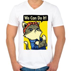 PRINTFASHION Megcsináljuk! - Férfi V-nyakú póló - Fehér