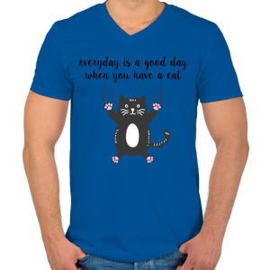 PRINTFASHION Ha van egy macskád - Férfi V-nyakú póló - Királykék