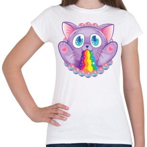 PRINTFASHION Szivárvány macska - Női póló - Fehér