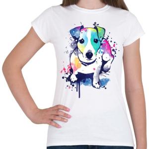 PRINTFASHION Színes kutya - Női póló - Fehér