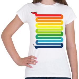 PRINTFASHION Szivárvány Kutya - Női póló - Fehér