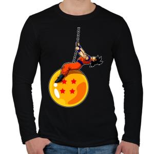 PRINTFASHION Dragonball - Wrecking Ball - Férfi hosszú ujjú póló - Fekete