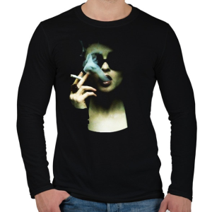 PRINTFASHION Marla - Férfi hosszú ujjú póló - Fekete