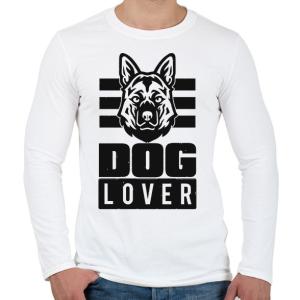 PRINTFASHION Dog Lover - Férfi hosszú ujjú póló - Fehér