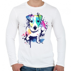 PRINTFASHION Színes kutya - Férfi hosszú ujjú póló - Fehér