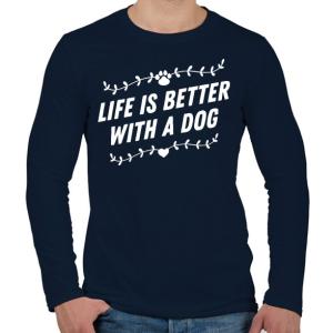 PRINTFASHION Kutyával jobb az élet - Férfi hosszú ujjú póló - Sötétkék