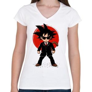 PRINTFASHION Goku - Ügynök - Női V-nyakú póló - Fehér