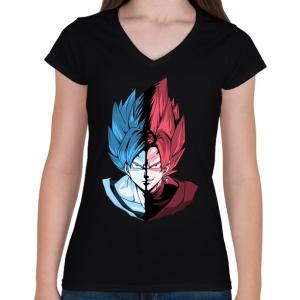 PRINTFASHION Super Saiyan Blue VS Super Saiyan Rose - Női V-nyakú póló - Fekete