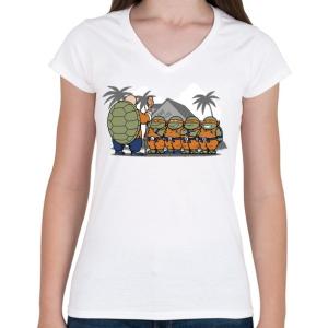 PRINTFASHION Dragonball teknősök - Női V-nyakú póló - Fehér
