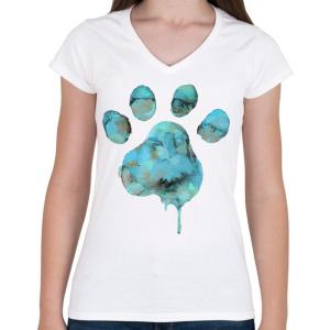 PRINTFASHION Vízszínű Mancs - Női V-nyakú póló - Fehér