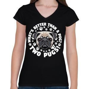 PRINTFASHION Két kutya jobb mint egy - Női V-nyakú póló - Fekete